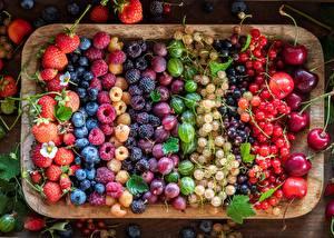 壁紙,浆果,覆盆子,草莓,鵝莓,醋栗,樱桃,黑莓,蓝莓,很多,食物,