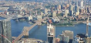 Tapety na pulpit Mosty Domy USA Rzeka Nowy Jork Manhattan Harlem river miasto