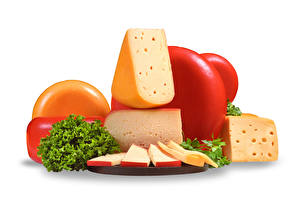 Photo Cheese Sliced food White background Food