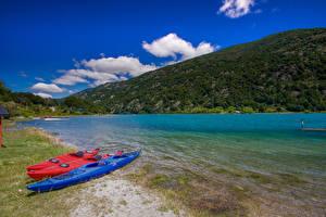 Bilder Chile Boot Küste Hügel Bucht Patagonia Natur
