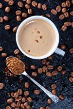 Fotos Kaffee Cappuccino Tasse Getreide Löffel das Essen