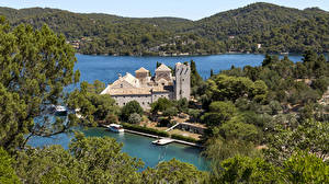 Picture Croatia Forests Lake Pier Houses Hill Mljet Island Cities