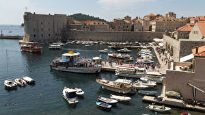 Wallpapers Croatia Building Berth Boats Speedboat Dubrovnik Bay