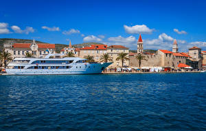 Pictures Croatia Houses Pier Ship Bay Trogir Cities