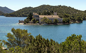 Pictures Croatia Island Building Marinas Bay Hill Mljet Island Nature Cities
