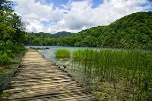 Hintergrundbilder Kroatien Parks See Gebirge Wald Brücke Plitvice Lakes National Park Natur