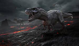 Hintergrundbilder Dinosaurier Feuer Tyrannosaurus rex Grinsen 3D-Grafik Tiere