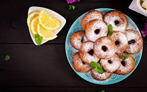 Bilder Donut Puderzucker Zitrone Teller