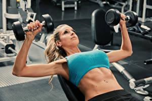 Bilder Fitness Trainieren Hand Hanteln Bauch sportliches Mädchens