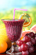 Photo Fruit Grapes Smoothy Stemware Food