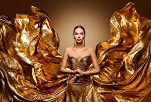 Pictures Gold color Frock Makeup Hands young woman