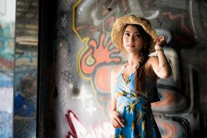 Pictures Graffiti Asiatic Walls Gown Plait Hat Posing young woman