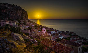 Pictures Greece Houses Sunrises and sunsets Sea Cliff Sun Roof Monemvasia Cities