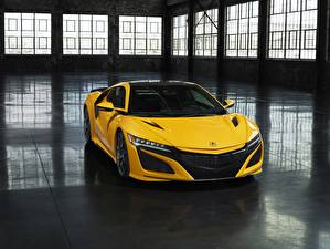 Picture Honda Yellow Acura NSX automobile