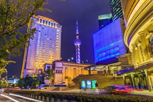 Fotos Gebäude Shanghai China Nacht Türme Städte