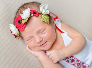 Fotos & Bilder Säugling Schlaf Kranz Gesicht Kinder