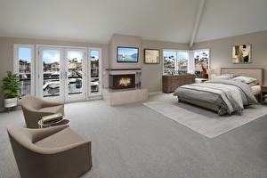 桌面壁纸,,室內,设计,臥房,床,安乐椅,壁爐,