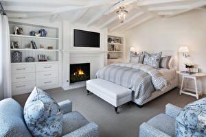 Wallpaper Interior Design Bedroom Bed Fireplace