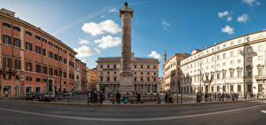 Photo Italy Rome Houses Monuments Town square Fence Cities