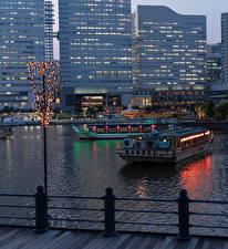 Picture Japan Riverboat Evening Rivers Houses Fairy lights Yokohama Cities