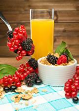 Fonds d'écran Jus de fruits Muesli Groseillier Mûre Madrier Verre aliments