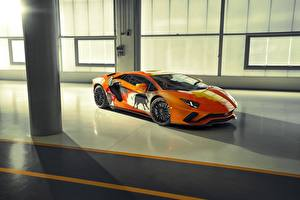 Desktop hintergrundbilder Lamborghini Tuning Orange Aventador S Skyler Grey auto