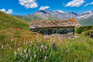Wallpapers Mountain France Building Alps Grass Made of stone Mont-Cenis, Savoie Nature