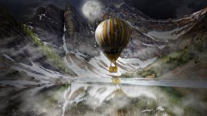 Fotos Berg See Fesselballon Mond Nacht Fantasy