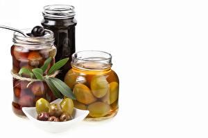 Bilder Oliven Einweckglas Weißer hintergrund