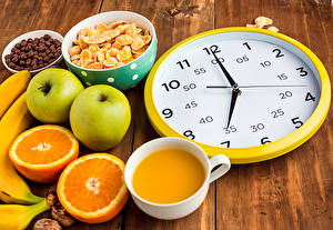 Picture Orange fruit Apples Juice Clock Clock face Cup Breakfast Wood planks Food