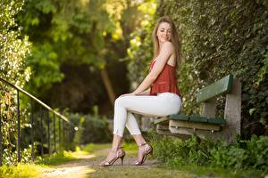 Photo Parks Bokeh Bench Dark Blonde Sit Sweet Beautiful Legs Stilettos Pose Side Madlen young woman