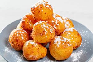 Desktop wallpapers Pastry Powdered sugar White background Balls Food