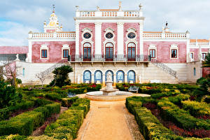 Photo Portugal Gardens Fountains Palace Bush Pousada Palacio De Estoi Faro Cities