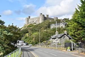 Hintergrundbilder Wege Burg Vereinigtes Königreich Wales Harlech Castle, County Gwynedd region Städte