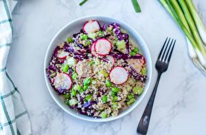 Hintergrundbilder Salat Gemüse Radieschen Teller Gabel