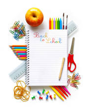 Wallpaper School Apples Stationery Pencils English Notebooks White background