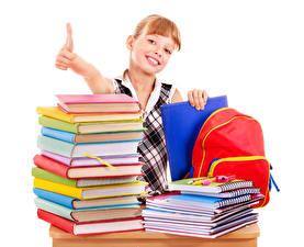 Bilder Schule Finger Kleine Mädchen Bücher Notizbuch Blick Weißer hintergrund Kinder