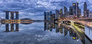 Fotos Singapur Haus Abend Brücke Bucht