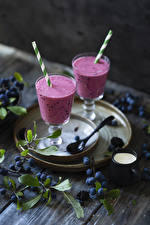 Wallpapers Smoothie Blueberries Stemware Two Branches Food
