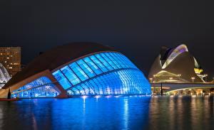 Bilder Spanien Nacht Valencia, Ciudad de las Artes y las Ciencias Städte