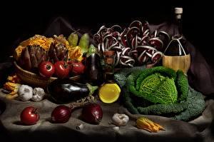 Desktop hintergrundbilder Stillleben Aubergine Kohl Zwiebel Tomaten Gemüse das Essen