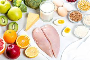 Wallpaper Still-life Milk Cheese Orange fruit Apples Kiwifruit Chicken as food Highball glass Eggs Grain Food