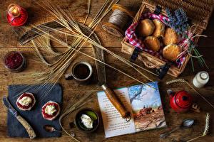 Bilder Stillleben Backware Konfitüre Kaffee Bretter Ähre Die Sahne Bücher Becher