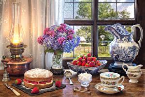 Picture Still-life Pie Kerosene lamp Strawberry Hydrangea Jug container Cup Window Food