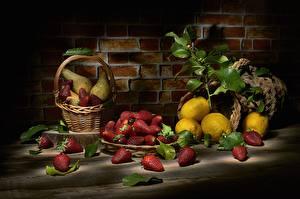 Hintergrundbilder Stillleben Erdbeeren Zitrone Weidenkorb