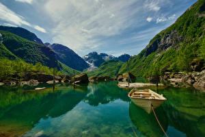 Fotos Steine Boot Seebrücke Berg Norwegen Bucht Laubmoose Bondhusvatnet Hardanger Natur