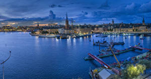 Picture Sweden Stockholm Building River Berth Evening Cities