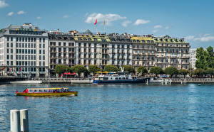 Pictures Switzerland Houses Lake Berth Riverboat Hotel Geneva Cities
