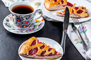 Wallpapers Tea Pie Knife Cup Piece Saucer Food