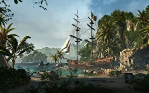 Hintergrundbilder Tropen Schiff Segeln Boot Assassin's Creed 4 Black Flag Palmengewächse Felsen Kleine Bucht computerspiel 3D-Grafik